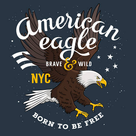 eagle flying: American Bald Eagle on a grunge background and inscription Born to be free. T-shirt apparel print graphics. Original graphic Tee Illustration