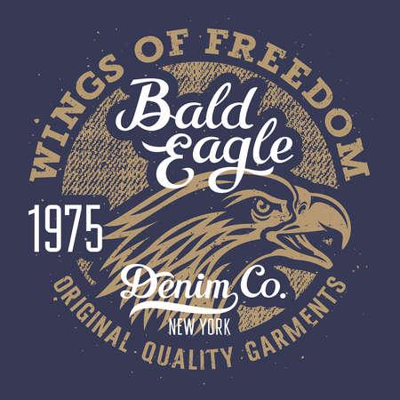Eagle T-shirt graphics / Vintage Typography / Original graphic Tee / Grunge Denim texture