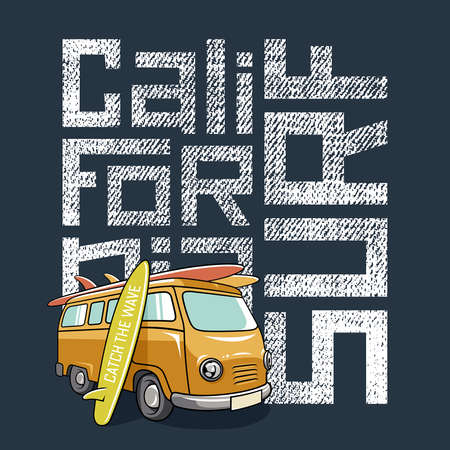 west coast: Surfing artwork with a hippie van and surfboards. Surf California textured lettering. T-shirt apparel print graphics. Original graphic Tee
