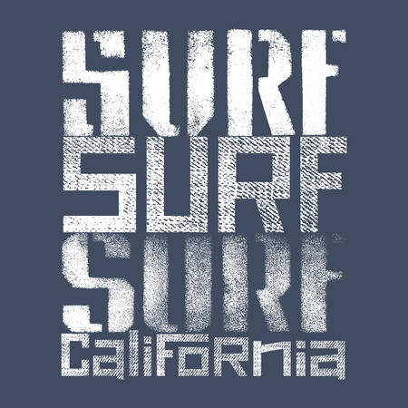 west coast: Surfing artwork. Surf California textured lettering. T-shirt apparel print graphics. Original graphic Tee Illustration