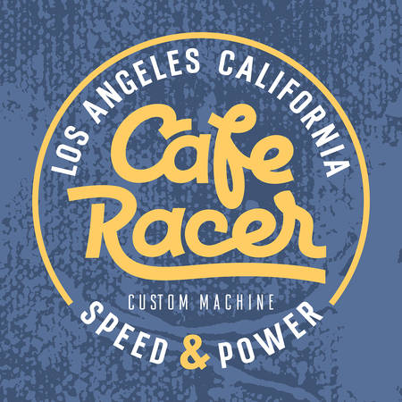 Cafe racer hand drawn lettering on a grunge background / Vintage t-shirt graphic design / Graphic Tee