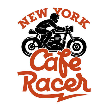 Cafe Racer silhouette and handwritten calligraphic lettering  Vintage t-shirt graphic design  Tee graphics Illustration