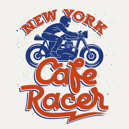 t shirt print: Cafe Racer silhouette and handwritten calligraphic lettering  Vintage t-shirt graphic design  Tee graphics Illustration