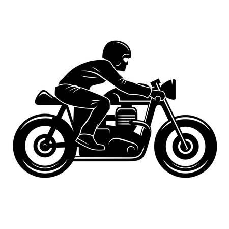 カフェ レーサーに孤立したホワイトのシルエット/オートバイのライダー/ビンテージ t シャツ グラフィック ・ デザイン/グラフィック Tee
