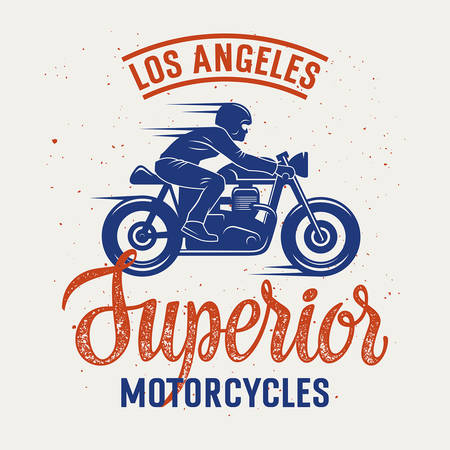 Vector illustration with a Motorcycle Rider and hand-made lettering  Cafe Racer T-shirt graphics  Vintage typography for apparel 向量圖像
