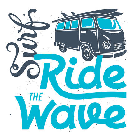 Surfing artwork. Surf hand made lettering. T-shirt apparel print graphics. Original graphic Tee