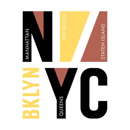 New York city typography  t-shirt graphics  vectors  tee graphics  Brooklyn, Queens, Manhattan, The Bronx and Staten Island