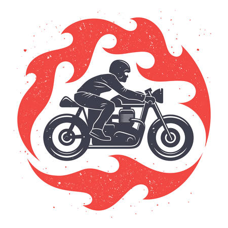 Vector illustration with a motorcycle rider and spurts of flame / Cafe Racer graphic Tee / T-shirt print design