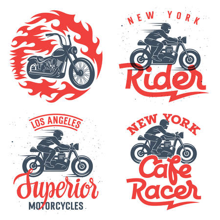 Motorcycle t-shirt graphic designs / Set of four motorcycle prints / Graphic Tee / Handmade typography