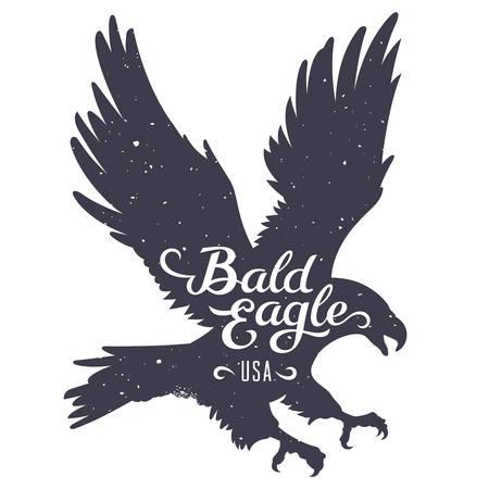 """Grunge texturierte Weißkopfseeadler-Silhouette und handschriftliche Aufschrift """"Weißkopfseeadler USA"""" - Illustration in Hipster-Stil / T-Shirt-Grafiken Standard-Bild - 88148337"""