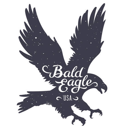 Grunge textured Bald Eagle silhouette and handwritten inscription Bald Eagle USA illustration in hipster style  T-shirt graphics