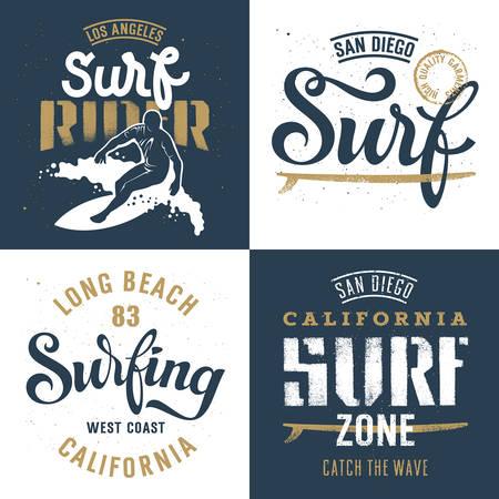 Surf-Kunstwerke gesetzt / Surfrider Print Design / T-Shirt Bekleidung Grafik drucken / Original Graphic Tee