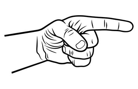 Pointing hand. Vector illustration of a pointing finger. Hand-drawn sketch Illustration
