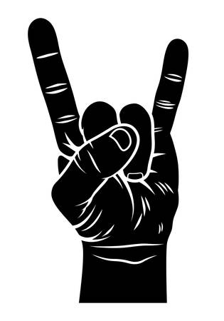 Rock and Roll hand sign. Sign of the horns. Vector
