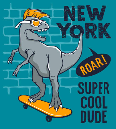 Dinosaur riding on skateboard. Vector illustration of a funny tyrannosaur with sunglasses. Skateboard typography for t-shirt. Athletic Tee graphics for kids Vettoriali