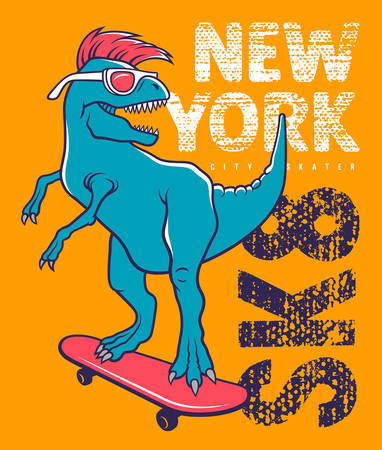 tyrannosaur: Dinosaur riding on skateboard. Vector illustration of a funny tyrannosaur with sunglasses. Skateboard typography for kids t-shirt. Tee graphics