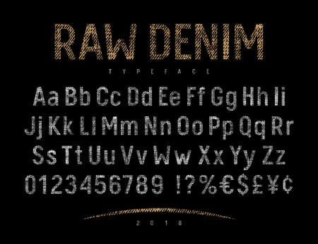 Grunge font with raw denim jeans texture . Rough textured vector alphabet. Vectors