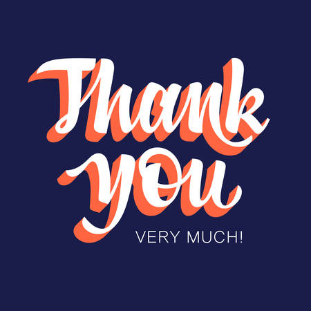 Thank You handwritten inscription. Hand drawn lettering. Thank You card with abstract geometric background. Vectors