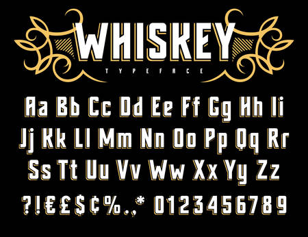 Vector alphabet in vintage style. Old whiskey label font. Uppercase, lowercase letters and numbers Vettoriali