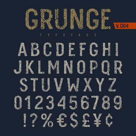 Grunge font. Rough fabric textured alphabet. Latin alphabet letters and numbers. Vectors