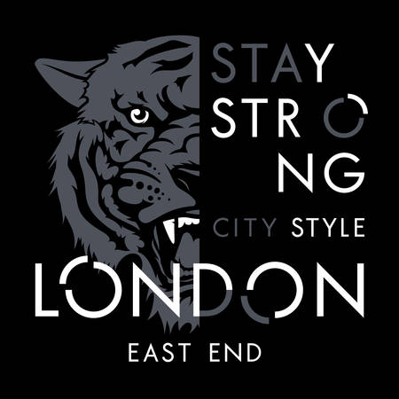 Tiger t-shirt print design. London city typography. Tee graphics. Vector illustration