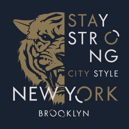 Tiger t-shirt print design. New York City typography. Tee graphics. Vector illustration 일러스트