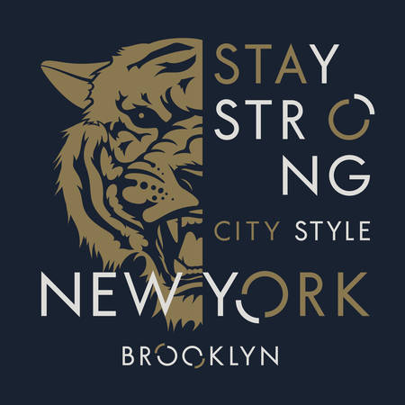 Tiger t-shirt print design. New York City typography. Tee graphics. Vector illustration Çizim