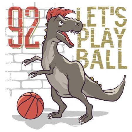 Dinosaure jouant au basketball. Illustration vectorielle de Tyrannosaur. T-shirt graphique, design graphique t-shirt