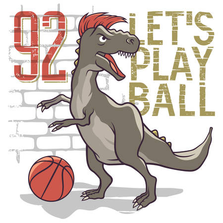 Dinosaur playing basketball. Tyrannosaur vector illustration. Athletic tee graphics, t-shirt graphic design Vettoriali