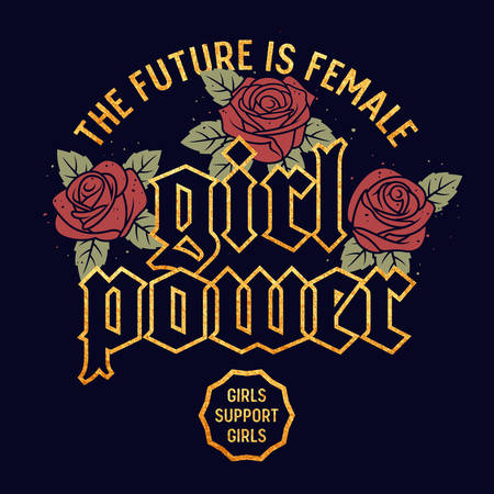 Girl Power graphic design for t-shirt, Fashion slogan typography, Tee graphics for girls, Rock style vector illustration with hand drawn vintage roses