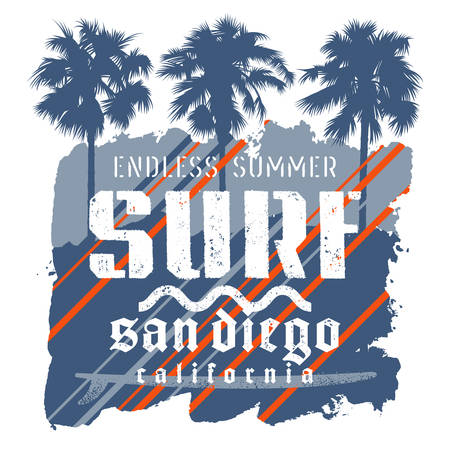 Surfing artwork, surf California t-shirt graphic design. Vintage graphic vector illustration on the theme of surfing in California.