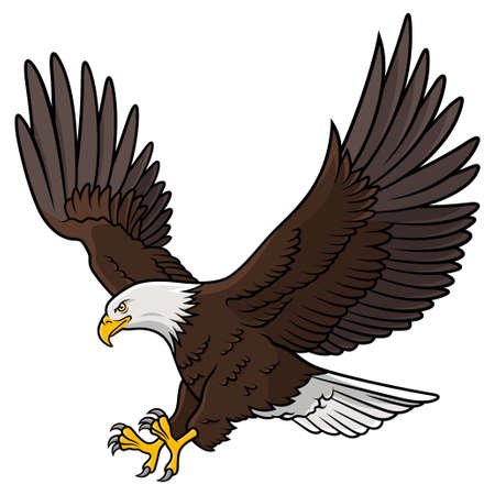 Colored graphic of american bald eagle on white backdrop illustration. Ilustração