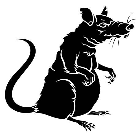 Rat silhouette isolated on white
