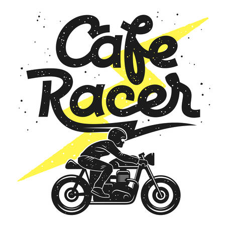 Motorcycle vintage typography. T-shirt design. Cafe Racer Graphic Tee. Vintage vector illustration