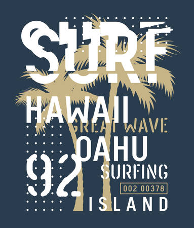 Surfing artwork. T-shirt and apparel design. Trendy graphic Tee. Vectors