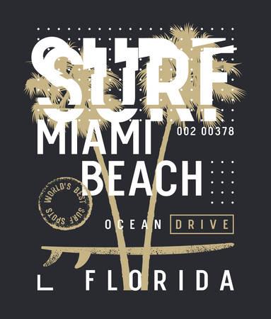 Surfen Kunstwerk. Surf Miami T-Shirt und Bekleidungsdesign. Trendiges Grafik-T-Shirt. Vektoren