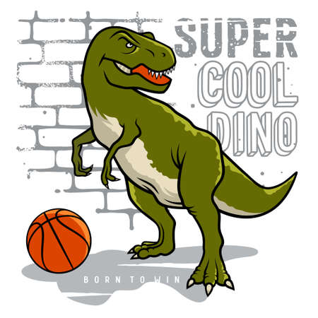 Dinosaur and slogan typography for t shirt design. Tyrannosaur Rex playing basketball on the background of brick wall. Athletic graphic tee. Vectors Vectores