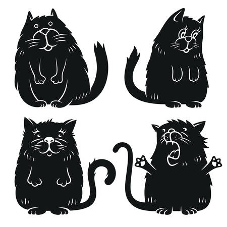 Set of cute cats for childish t-shirt print. Funny graphics for child t shirt design. Vectors