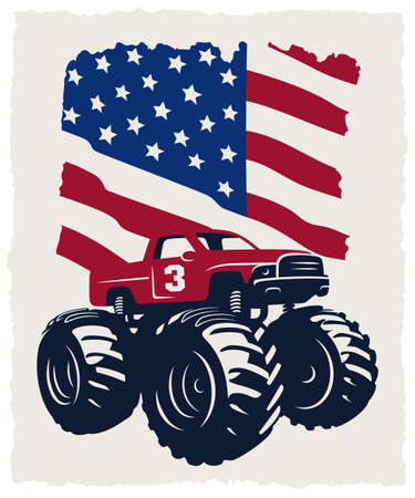Monster Truck and USA flag. Vintage Vector illustration with grunge texture
