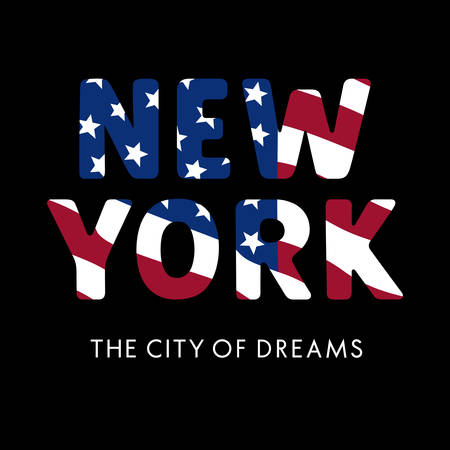 USA flag New York City typography for t-shirt design. Vector illustration with american flag and calligraphy lettering
