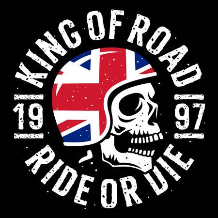 Cráneo en casco de moto, bandera del Reino Unido y tipografía de lema para el diseño de camisetas. Gráficos estampados de camisetas sobre el tema de la motocicleta. Ilustración de vector