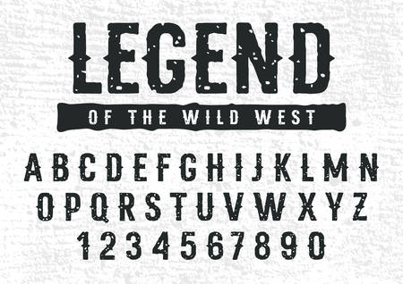 Rough stamp typeface in Wild West style. Grunge textured font. Vector handmade alphabet. Uppercase letters and numbers. Vectors. Grunge texture as a bonus