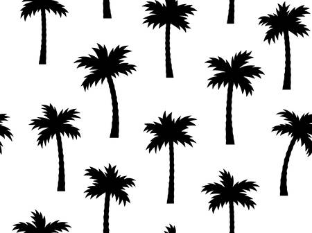 Summer seamless pattern with palm trees. Hand drawn vector illustration