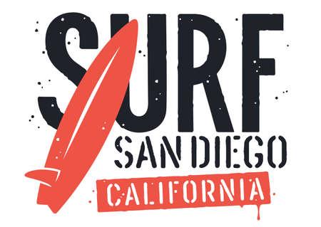 Typographie de surf pour la conception de t-shirts. T-shirt graphique. Illustration vectorielle sur le thème du surf et des vacances d'été Vecteurs