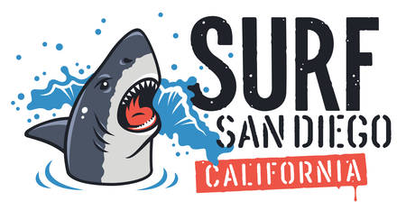 Shark and Surf Typography for T-shirt Design. Surfing Graphic Tee. Vector illustration on the theme of surfing and summer vacation