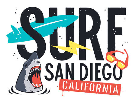 Surfing artwork for t-shirt design. San Diego California surf typography. Vector illustration of an angry shark, sunglasses, surfboard and lightning on the theme of surfing and summer rest
