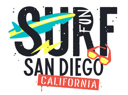 Surf San Diego California artwork for T-shirt Design. Summer Tee graphics. Hand drawn vector illustration on the theme of surfing and summer vacation Ilustração