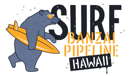 Bear with Sunglasses and Surfboard for T-shirt Design. Surfing Graphic Te. Funny illustration on the theme of surfing and summer vacation