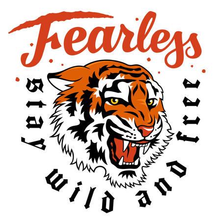 Japanese tiger vector illustration and trendy slogan for t-shirt design
