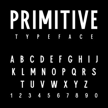 Simple sans serif alphabet. Simple narrow uppercase letters and numbers for posters, flyers and other uses